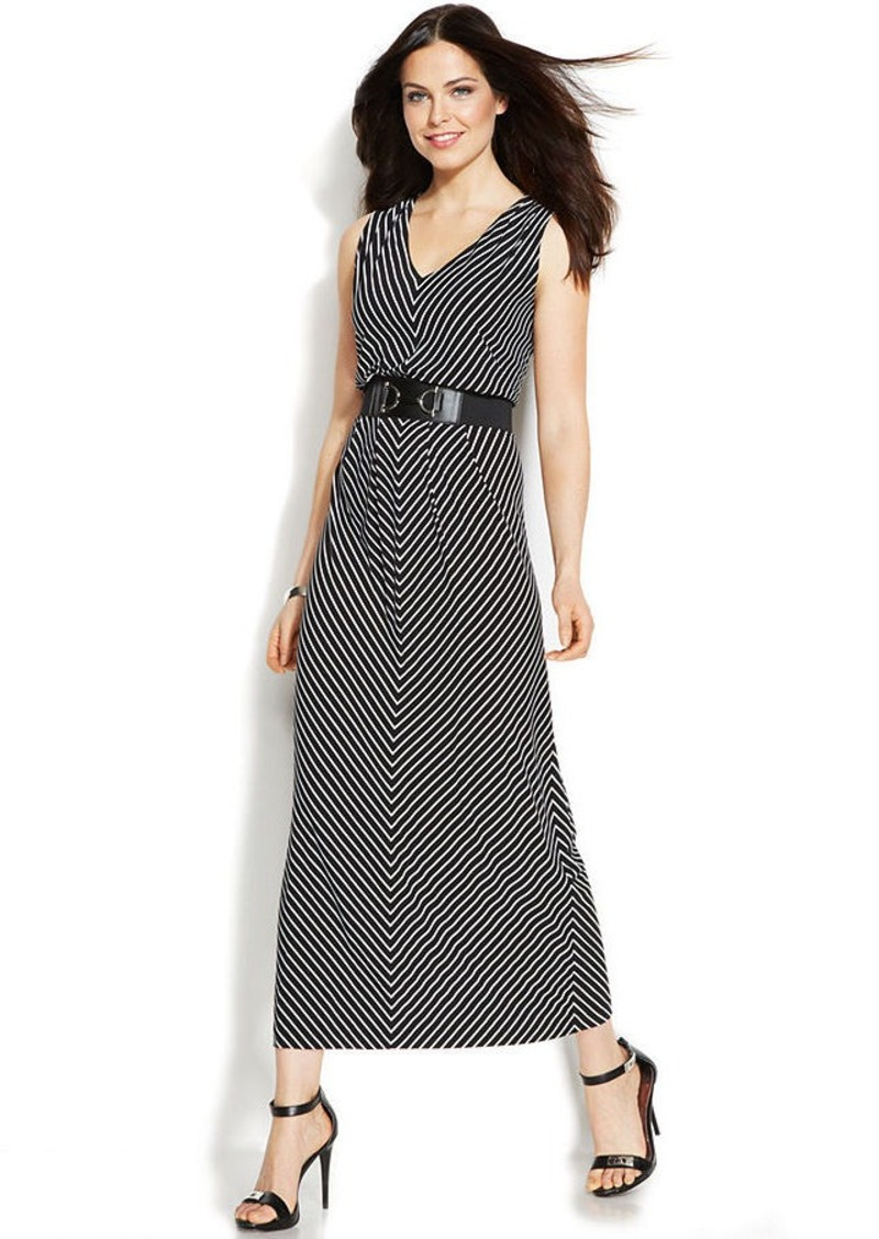 Alfani Petite Sleeveless Striped Belted Maxi Dress