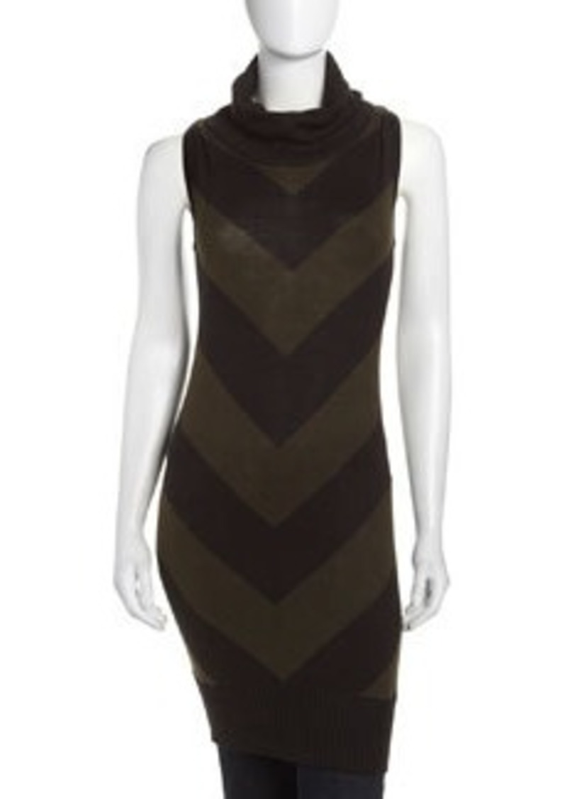 L.A.M.B. Striped Cowl-Neck Tunic, Olive/Black