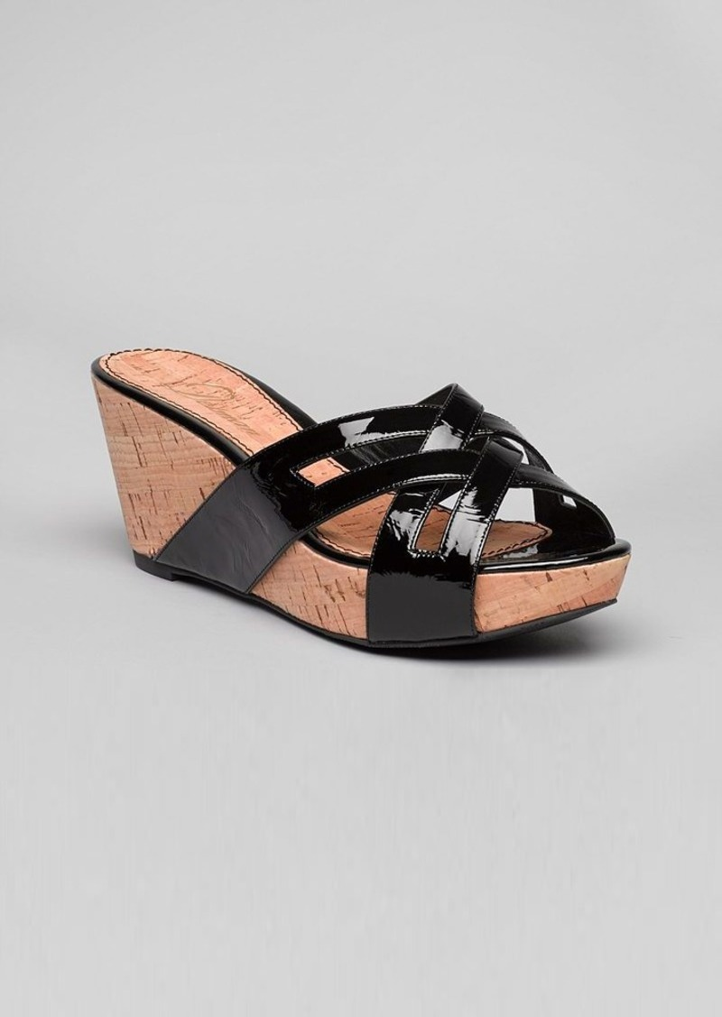 Delman Platform Wedge Slide Sandals - Carla