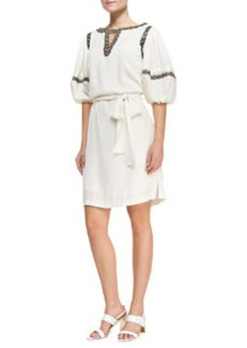 Catherine Malandrino Puff-Sleeve Shirtdress with Faux-Leather Trim   Puff-Sleeve Shirtdress with Faux-Leather Trim