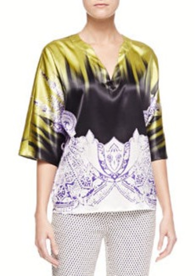 Etro Brushstroke/Paisley Charmeuse Tunic, Green/Purple