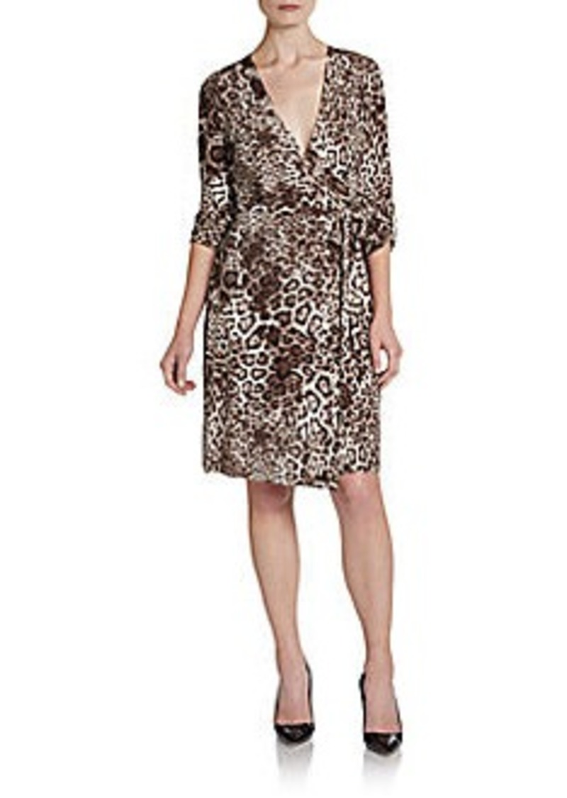 Calvin Klein Jaguar-Print Wrap Dress