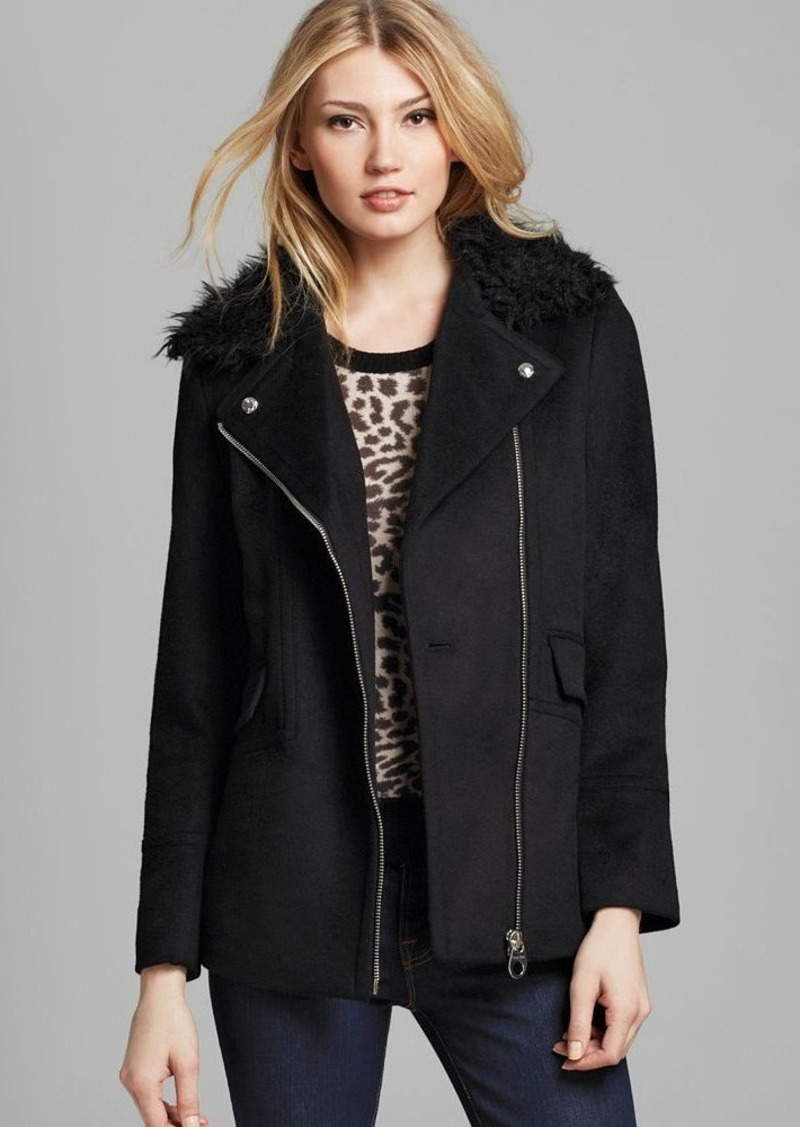Calvin Klein Asymmetrical Zip Wool Coat