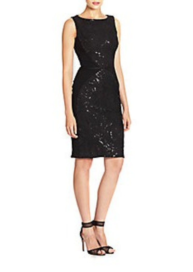 Carmen Marc Valvo Embellished Double-Face Dress