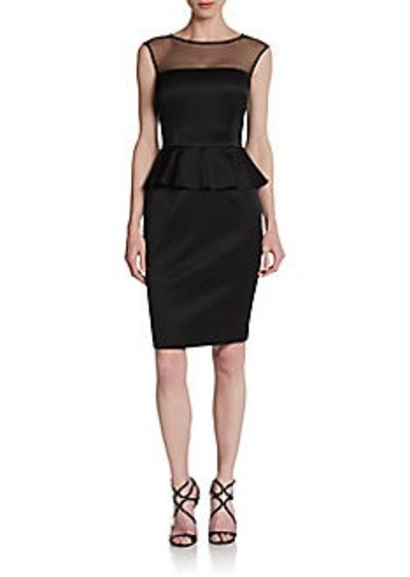 David Meister Sleeveless Illusion Peplum Dress