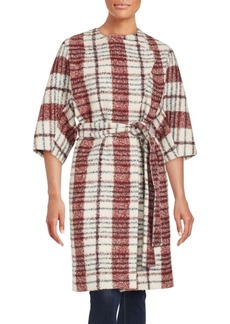 Derek Lam 10 Crosby Boucle Plaid Wrap Coat