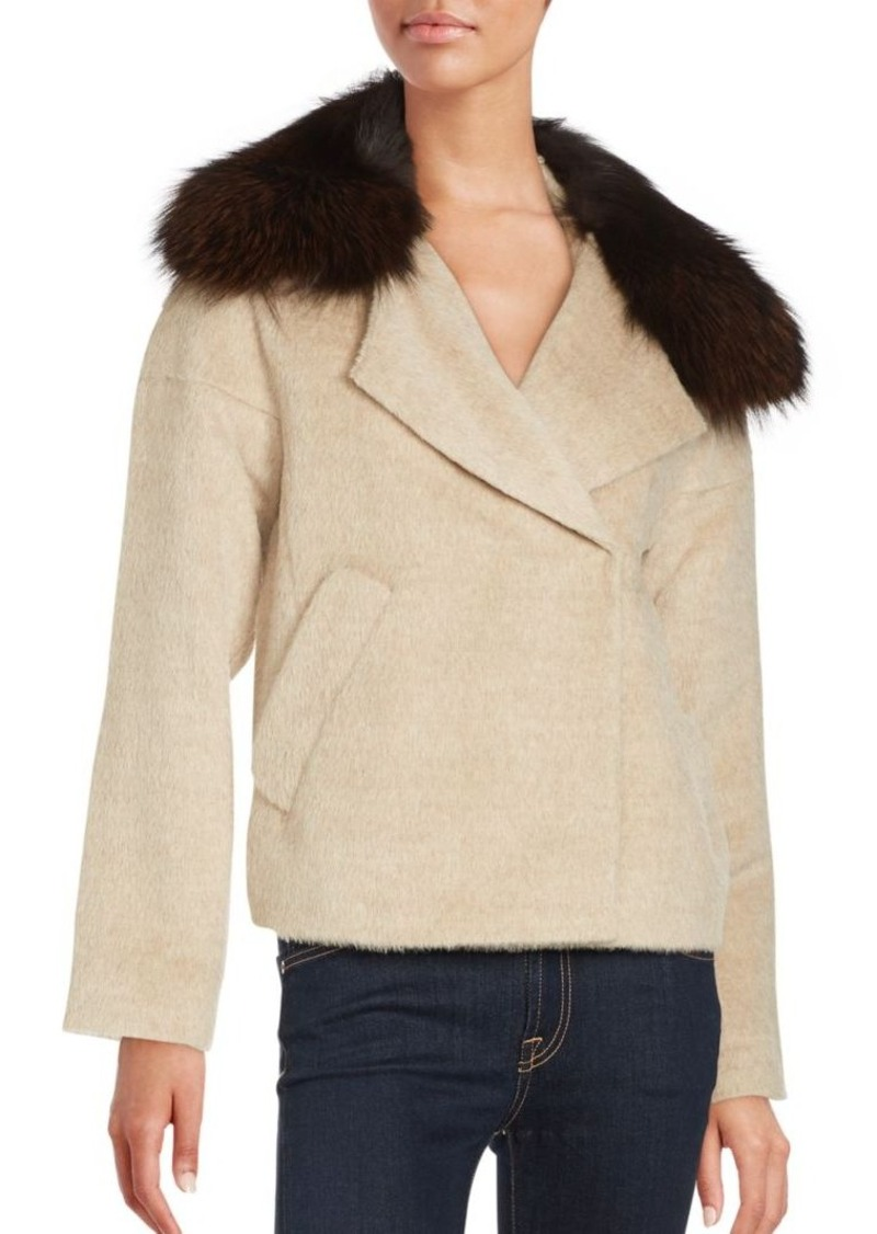 10 Crosby Cropped Fox Fur-Trimmed Peacoat. Derek Lam