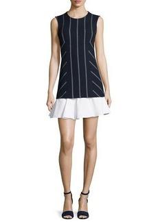 Derek Lam 10 Crosby Sleeveless Striped Flounce Dress