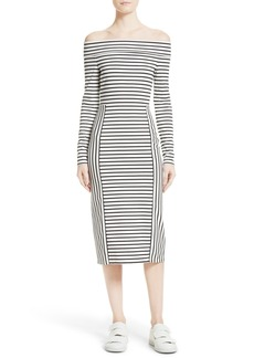 10 Crosby Derek Lam Stripe Off the Shoulder Midi Dress