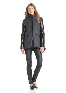 10 Crosby Derek Lam Women's Wool Jacket with Back Tail and Leather Sleeve
