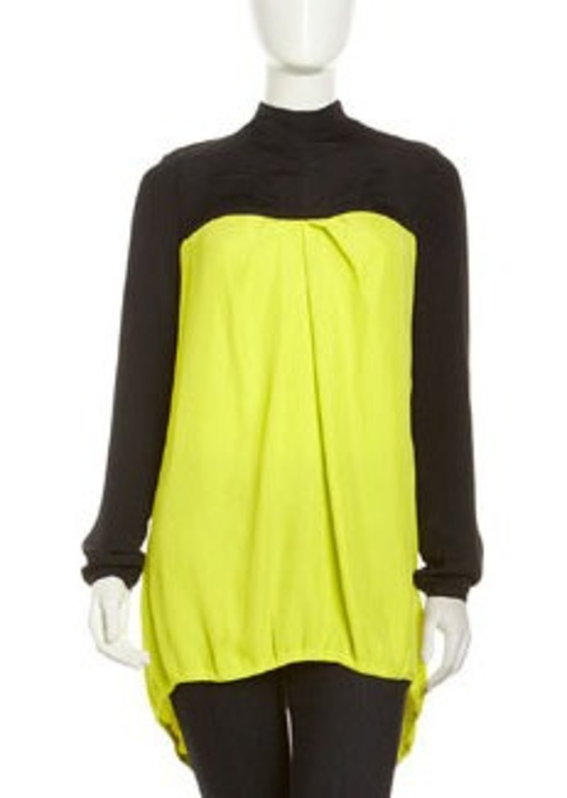 L.A.M.B. Colorblock Drawstring Top, Sulphur Spring/Black