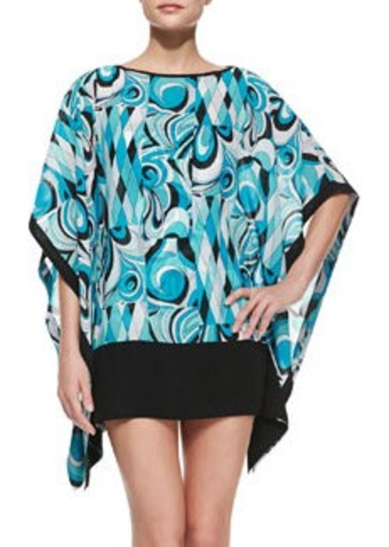 MICHAEL Michael Kors Printed Sheer Caftan Coverup   Printed Sheer Caftan Coverup