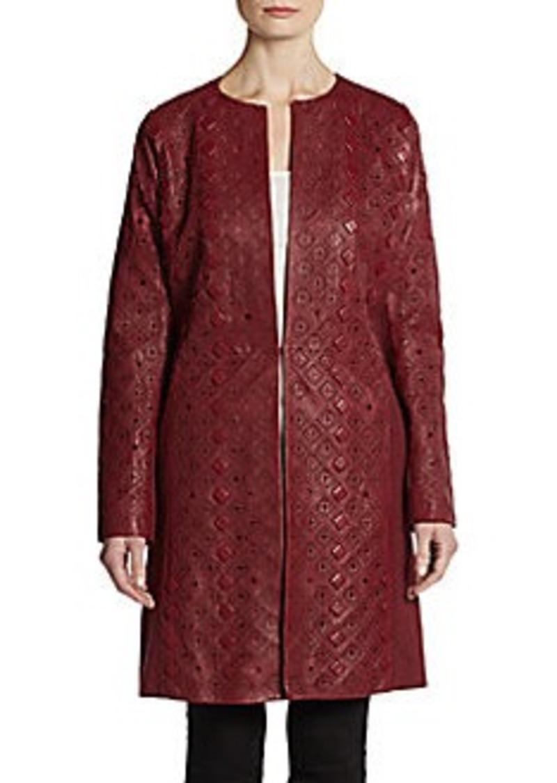 Catherine Malandrino Ardelle Leather & Wool Coat