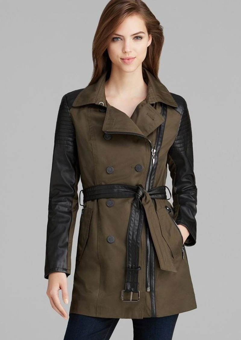 Laundry by Shelli Segal Trench Coat - Cotton Cloud Long Belted Moto