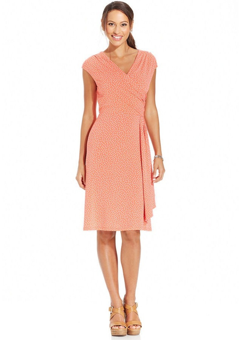 Charter Club Petite Cap-Sleeve Polka-Dot A-Line Dress