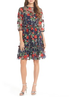 1901 Embroidered Mesh Fit & Flare Dress (Regular & Petite)