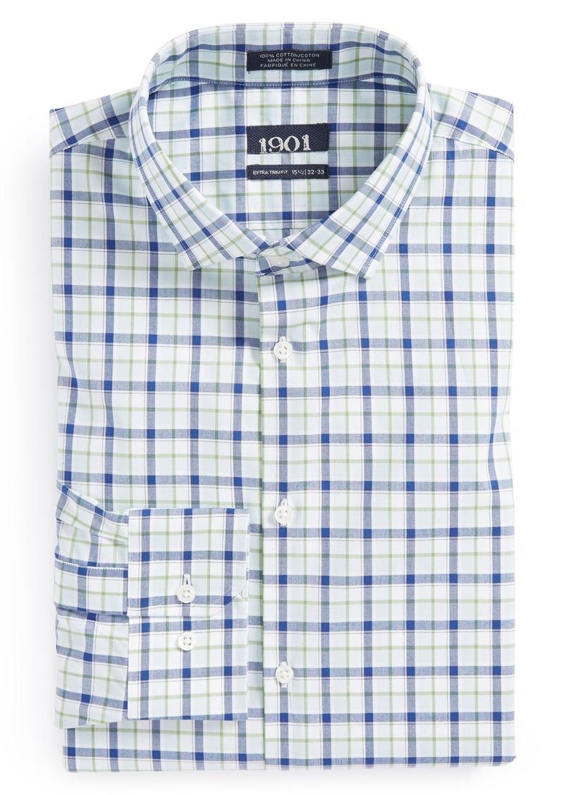 1901 1901 extra trim fit plaid dress shirt for Extra trim fit dress shirt