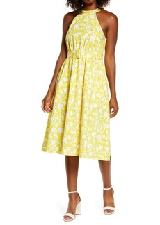 1901 Floral Belted Stretch Cotton Dress