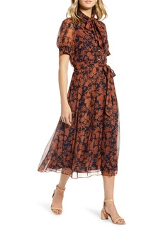 1901 Floral Print Button Front Pleated Chiffon Dress