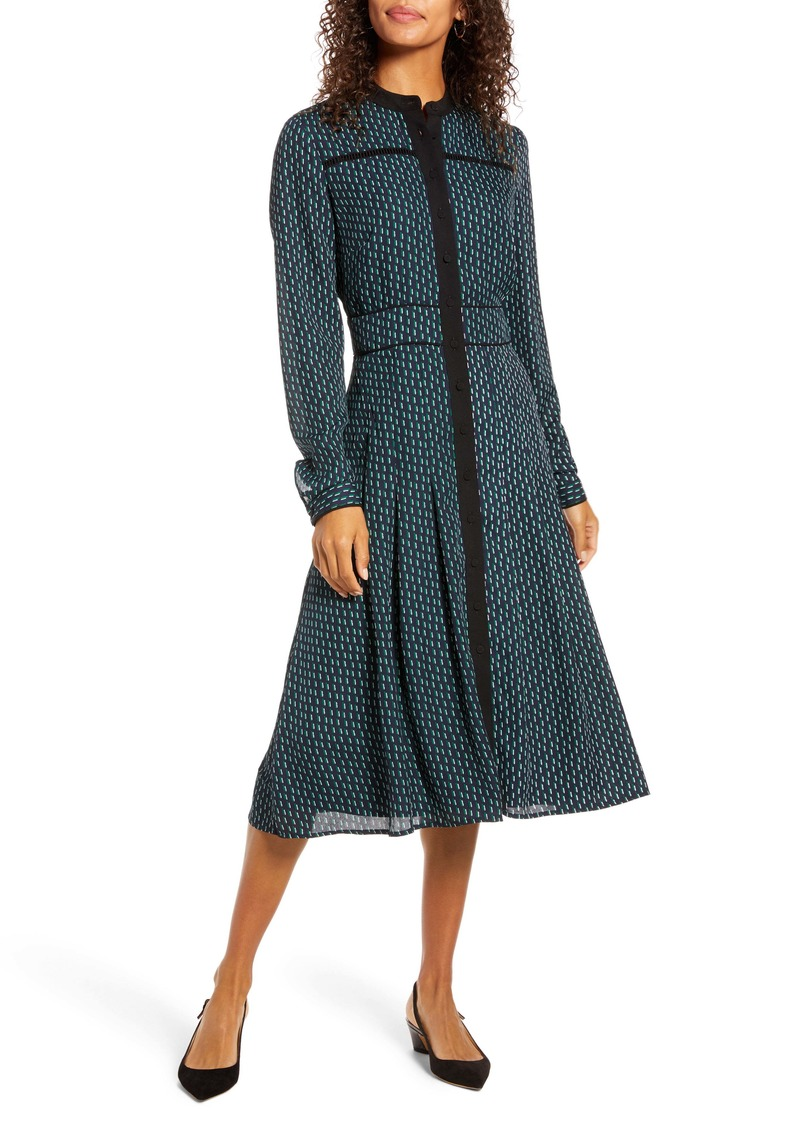 1901 Geo Print Long Sleeve Dress
