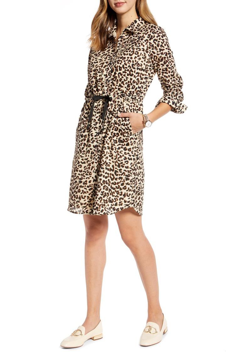 1901 Leopard Cinched Waist Long Sleeve Shirtdress