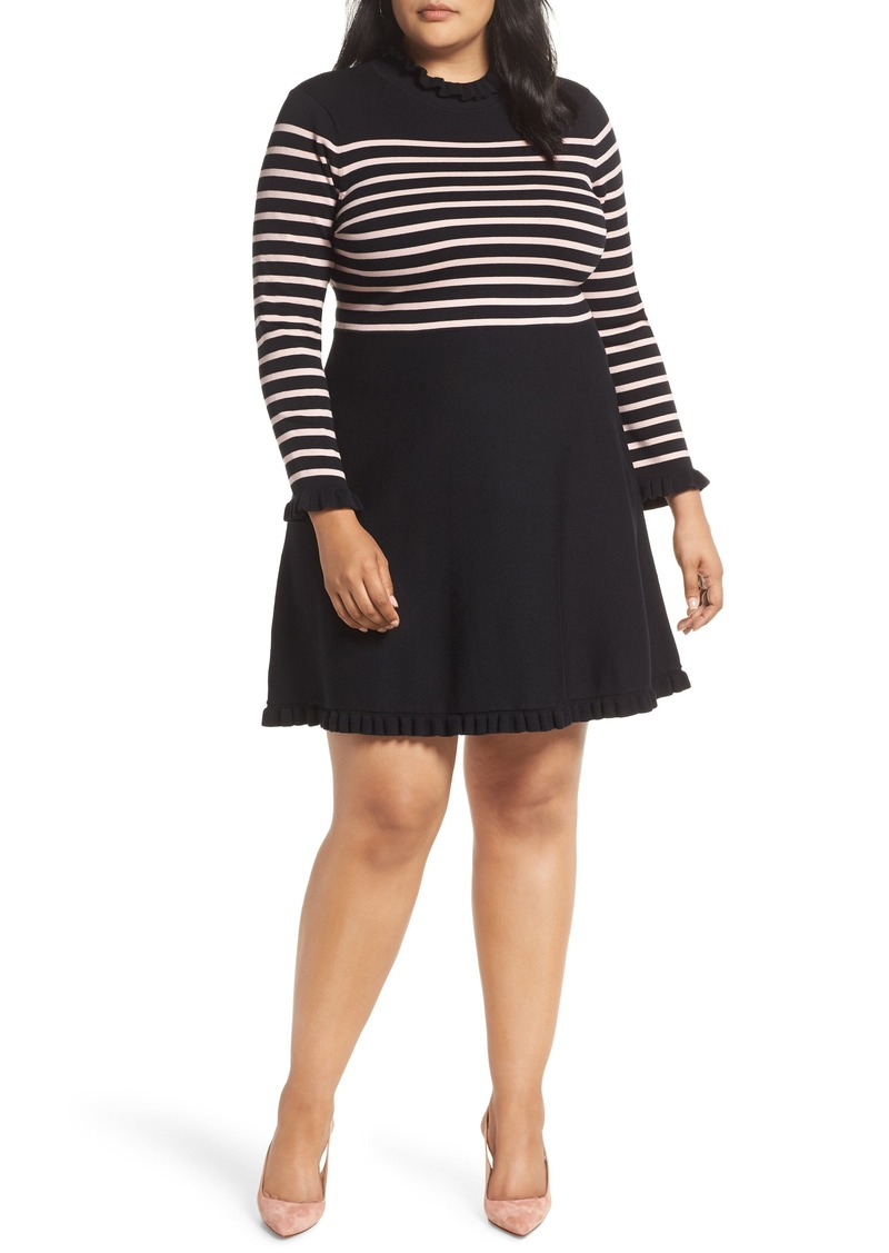 1901 1901 Mock Neck Stripe Sweater Dress (Plus Size) | Dresses