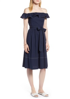 1901 Off the Shoulder Contrast Stitch Dress