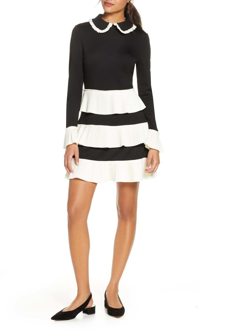 1901 Pleat Stripe Long Sleeve Sweater Dress