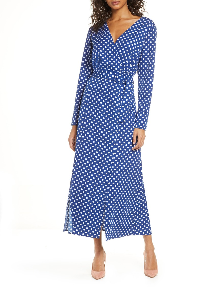 1901 Polka Dot Long Sleeve Maxi Wrap Dress