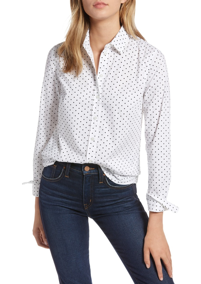 3516cd76a2f SALE! 1901 1901 Polka Dot Stretch Cotton Blend Shirt (Regular   Petite)