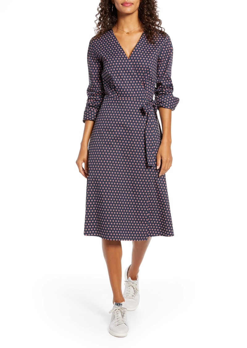 1901 Poplin Long Sleeve Wrap Dress (Regular & Petite)