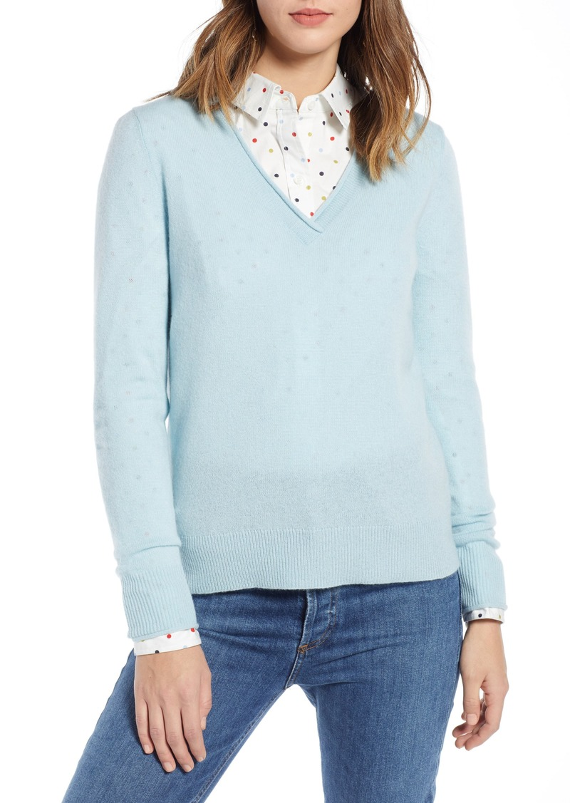 ae271b277df 1901 Rolled Edge1901 Rolled V-Neck Cashmere Sweater (Regular   Petite)