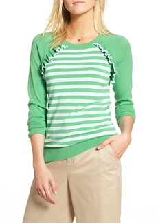 1901 Ruffle Trim Stripe Sweater