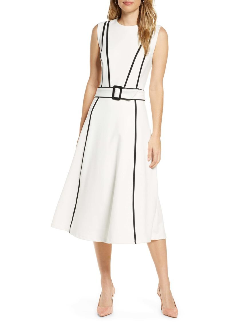 1901 Sleeveless Contrast Belted Midi Dress