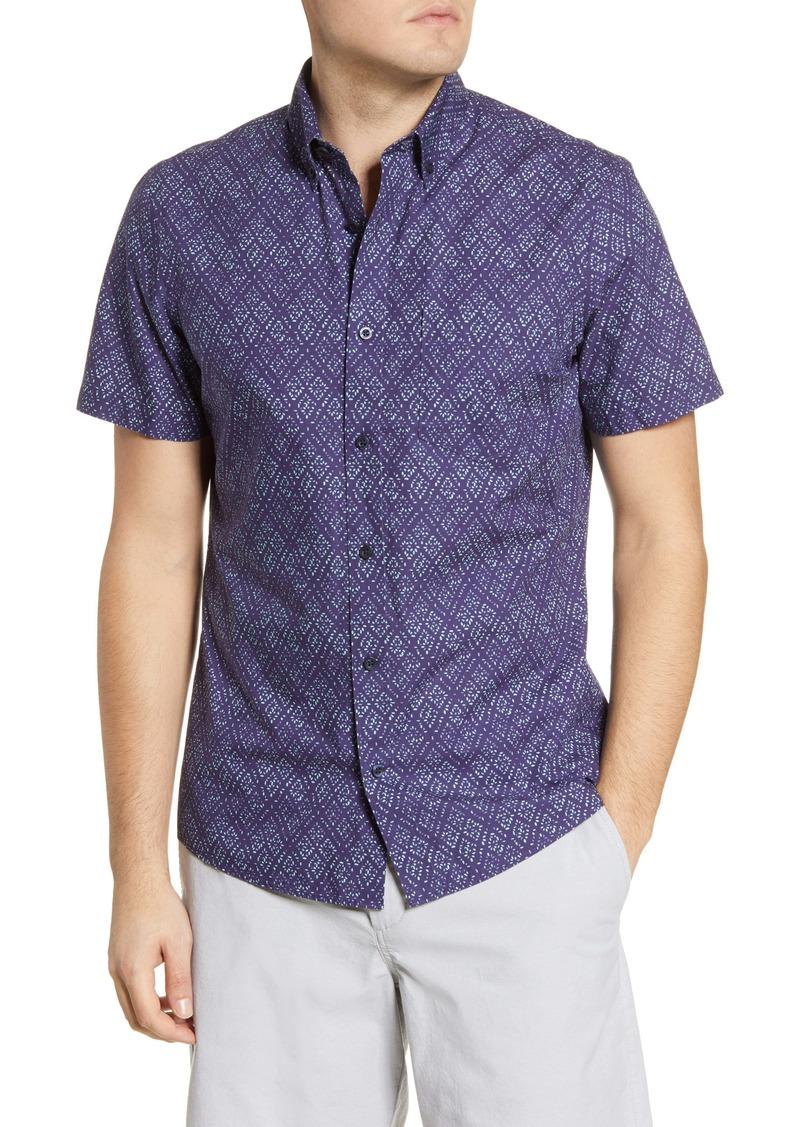 1901 Slim Fit Diamond Grid Print Short Sleeve Button-Down Shirt