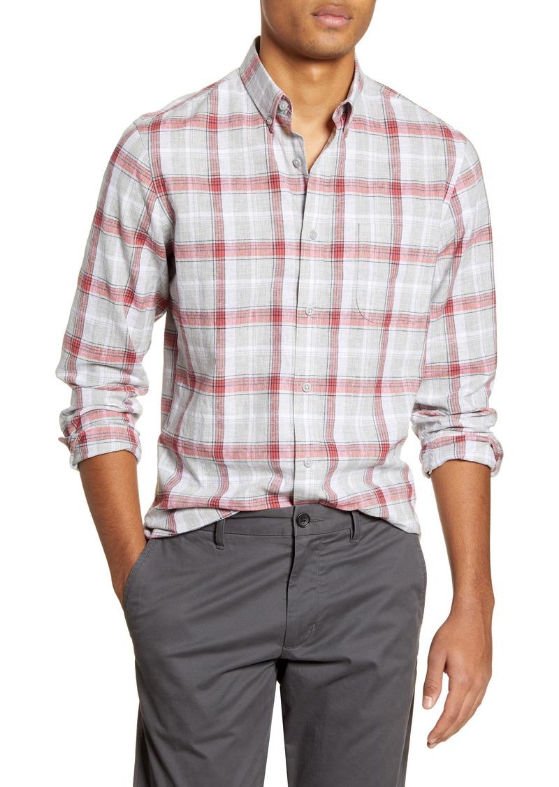 1901 Slim Fit Plaid Linen & Cotton Button-Down Shirt