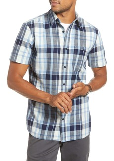 1901 Trim Fit Plaid Short Sleeve Button-Up Sport Shirt