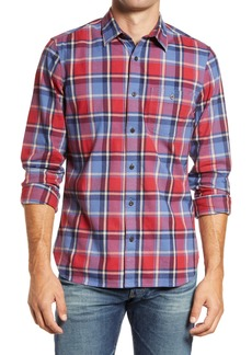 1901 Slim Fit Plaid Stretch Flannel Button-Up Shirt