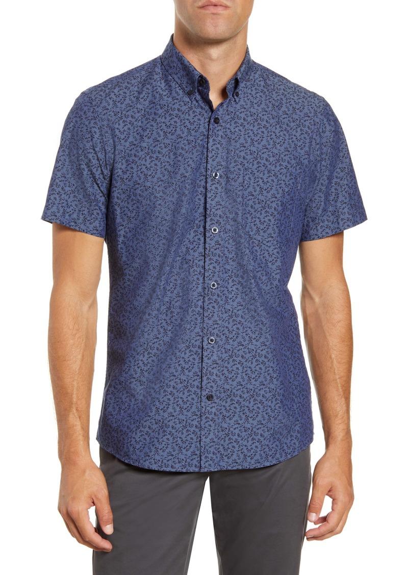 1901 Spade Trim Fit Floral Short Sleeve Button-Down Shirt