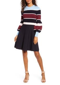 1901 Stripe Long Sleeve Fit & Flare Sweater Dress