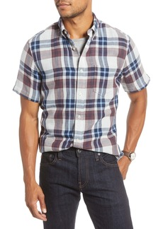 1901 Trim Fit Plaid Short Sleeve Button-Down Sport Shirt