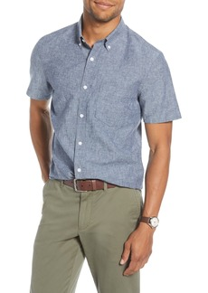 1901 Trim Fit Short Sleeve Linen Blend Button-Down Shirt