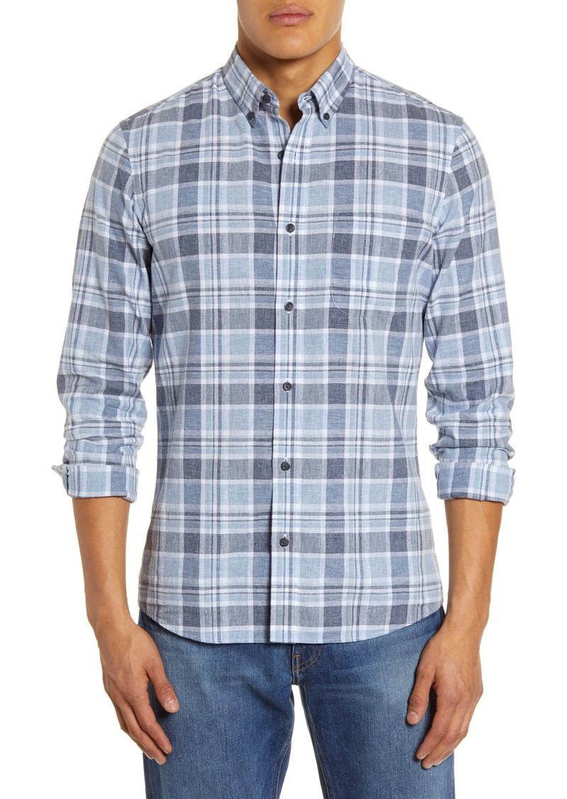 1901 Trim Flit Plaid Linen Blend Button-Down Shirt
