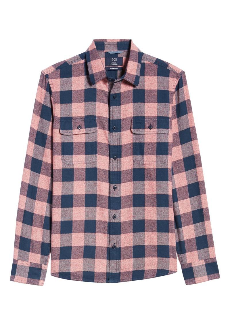 1901 Trucker Slim Fit Buffalo Check Button-Up Flannel Shirt