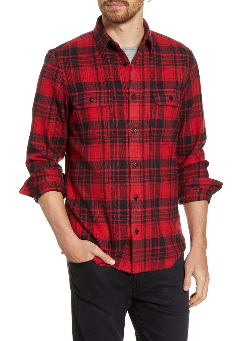 1901 Trucker Trim Fit Plaid Flannel Button-Up Shirt