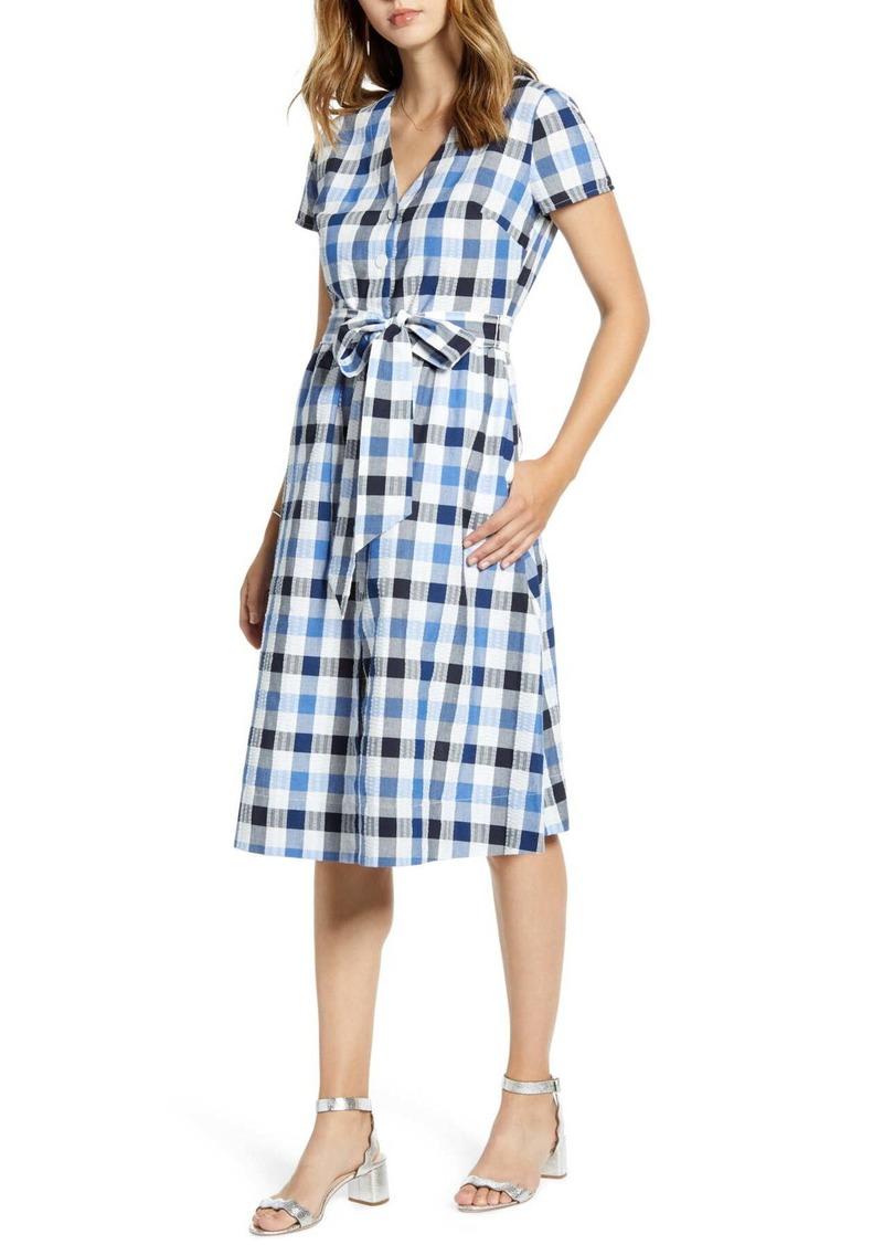 1901 Check Tie Waist Short Sleeve Dress (Regular & Petite)