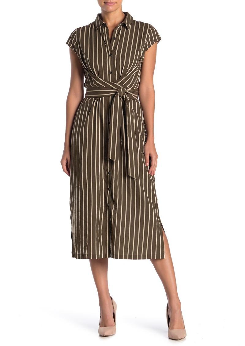 1901 Short Sleeve Stripe Print Shirt Dress