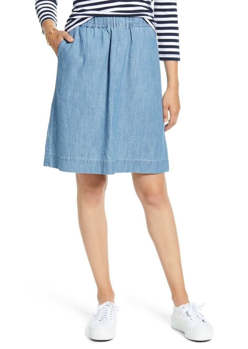 1901 Stretch Cotton Chambray Skirt (Regular & Petite)