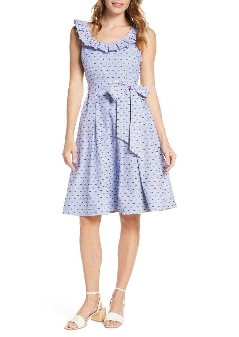 1901 Stripe Pleat Collar Clip-Dot Fit & Flare Dress (Regular & Petite)