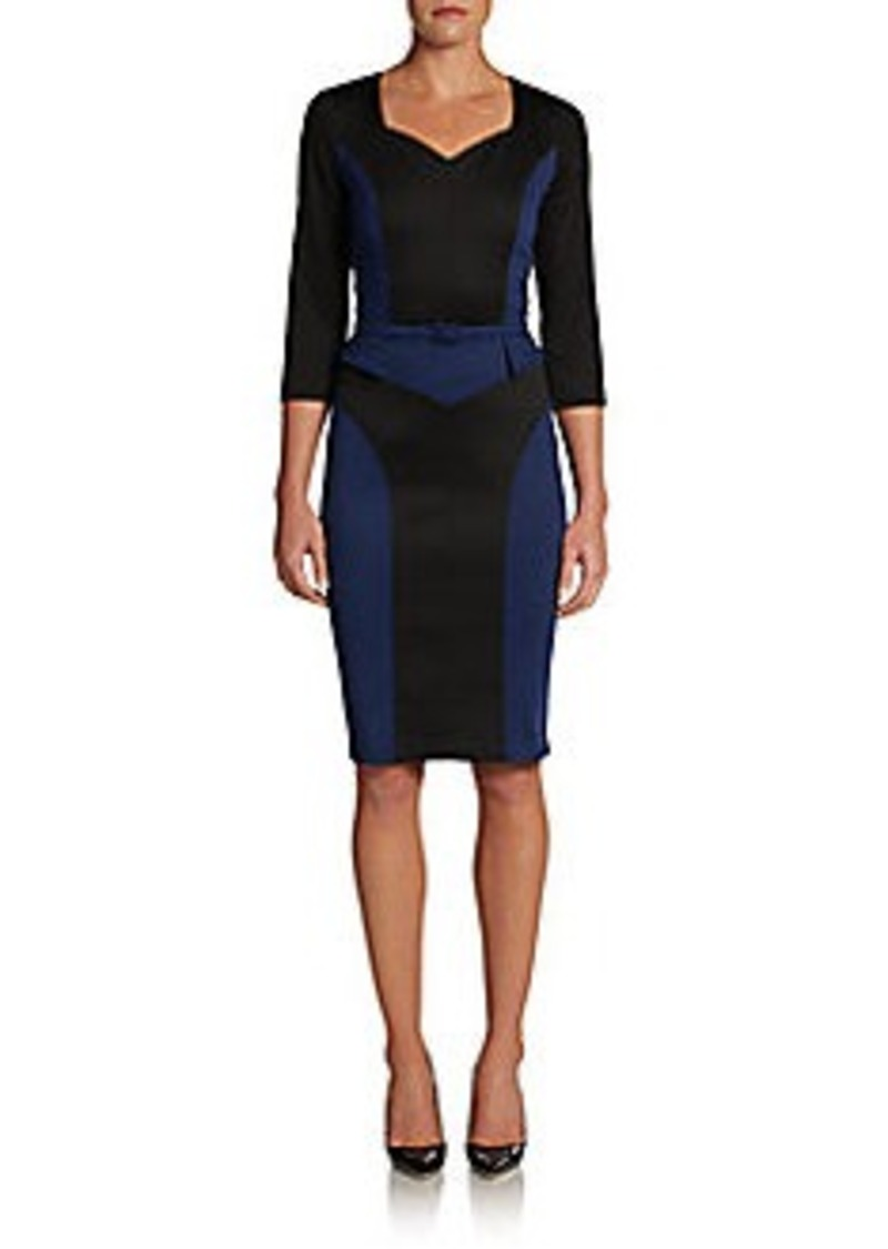 David Meister Crepe Belted Colorblock Dress